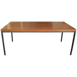Mid-Century Modern Walnut Top Dining Table or Desk With Charcoal Metal Legs For Sale