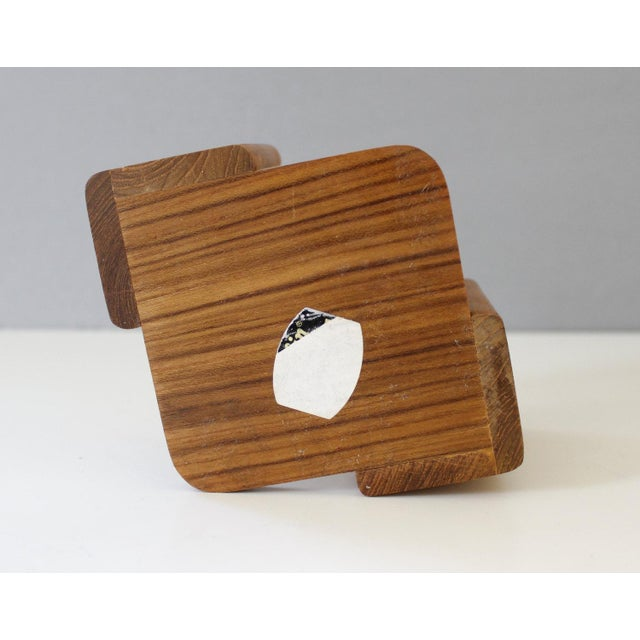 Danish Modern Dolphin Teak Coasters with Caddy - Set of 8 - Image 6 of 6