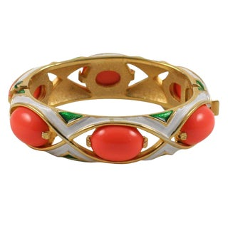 Crown Trifari Coral and Enamel Bracelet For Sale