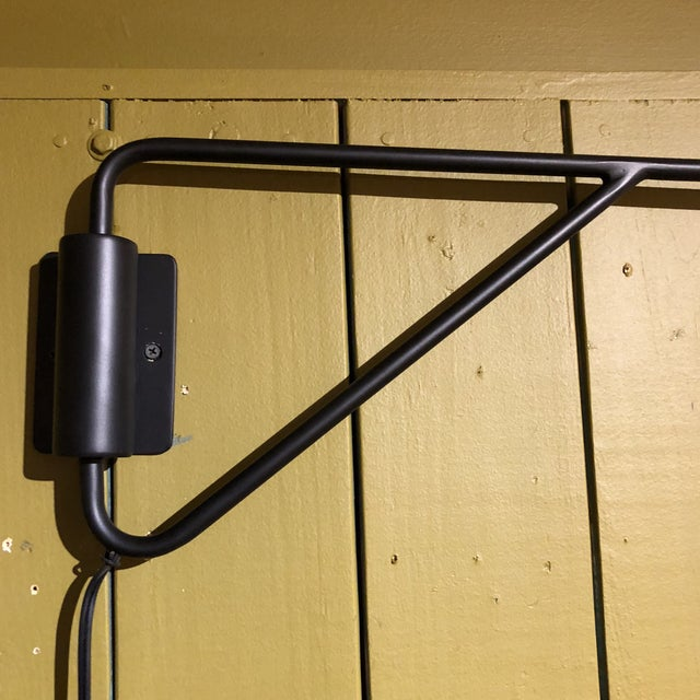 Black & Chrome Shaded Wall Lamp For Sale - Image 5 of 8