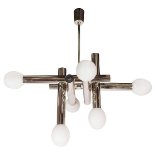 Italian Mid-Century Modern White Glass and Tubular Chrome Chandelier by Sciolari