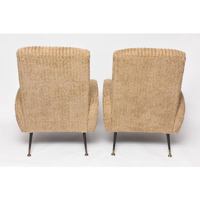 Mid-Century Italian Lounge Chairs with Original Metal and Brass Legs - Image 9 of 10