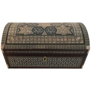 Middle Eastern Syrian Mother-Of-Pearl Inlaid Walnut Large Jewelry Box For Sale