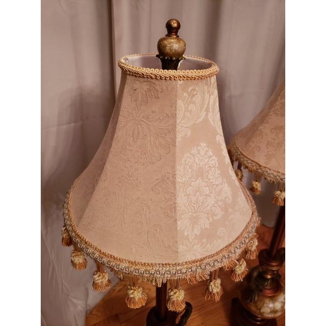 1950s Vintage Buffet Lamps With Cloth Shades and Fringe - a Pair For Sale - Image 5 of 10