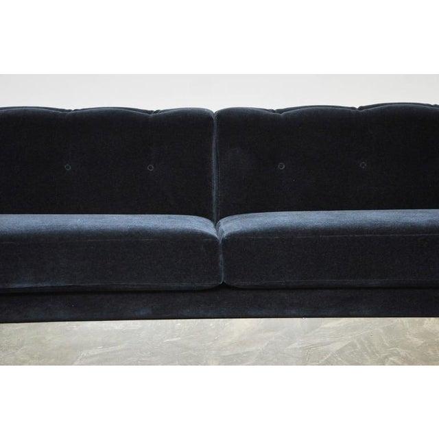 Milo Baughman Chrome Case Sofa in Blue Mohair For Sale - Image 5 of 7