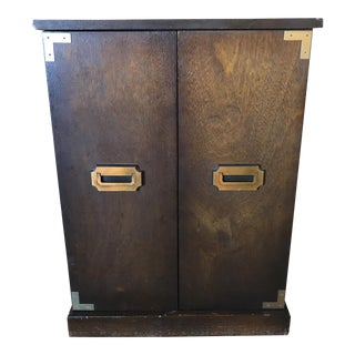 Campaign Style Brass and Walnut Cabinet For Sale