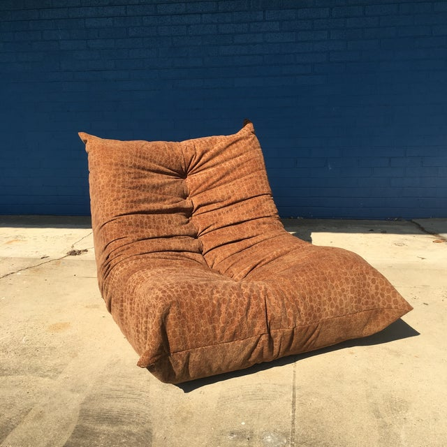 Textile Vintage Togo Fireside Chair With Custom Faux Alligator Suede For Sale - Image 7 of 13