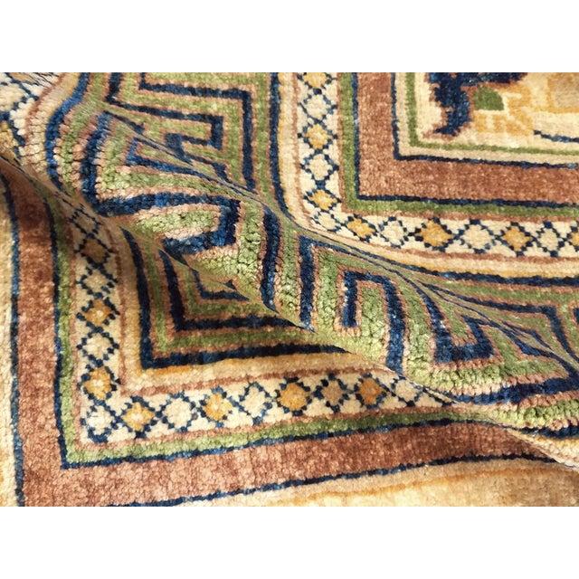1970s Kafkaz Peshawar Jenna Light Gold & Green Wool Rug - 9'10 X 14'0 For Sale - Image 5 of 7