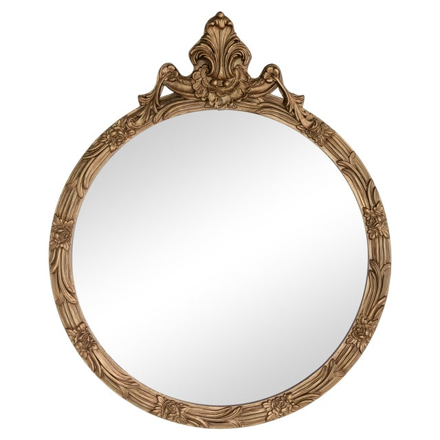 Round Giltwood Mirror With Acanthus Crest For Sale - Image 10 of 10