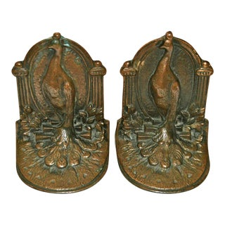Copper-Plated 1920s Peacock Bookends - a Pair