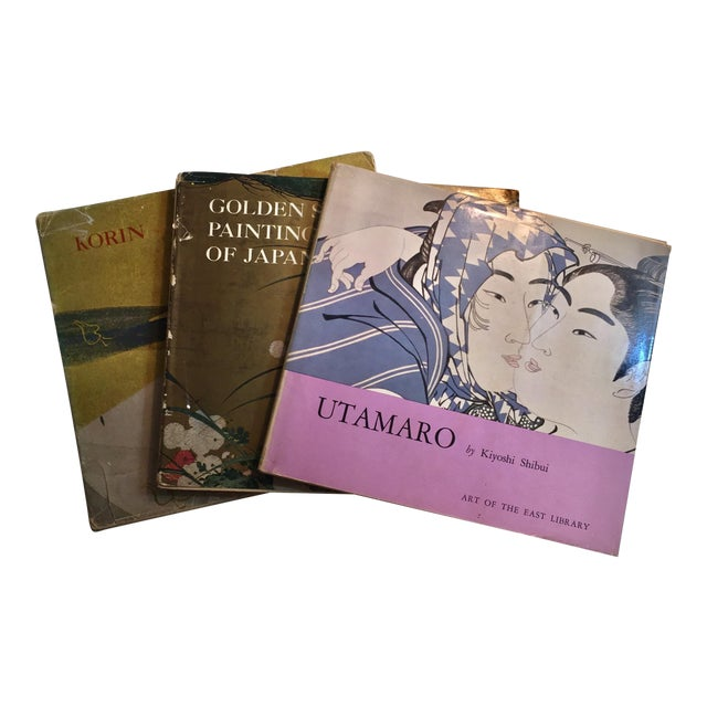 Utamaro Korin & Golden Screen Painting Books - Set of 3 For Sale