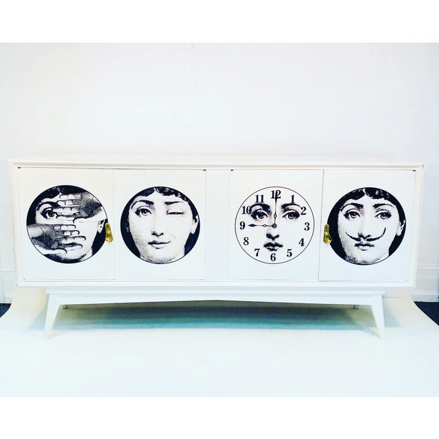 Wood 20th C. Italian Commode Cabinet in the Manner of Piero Fornasetti For Sale - Image 7 of 11