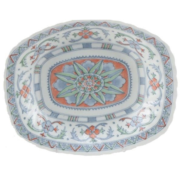 """Decorative Colored Platter with Blue and Coral color and Floral Detail 