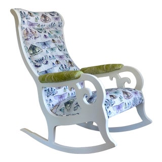 Upholstered Wood Rocking Chair in Antique White With Moth Print Velvet For Sale