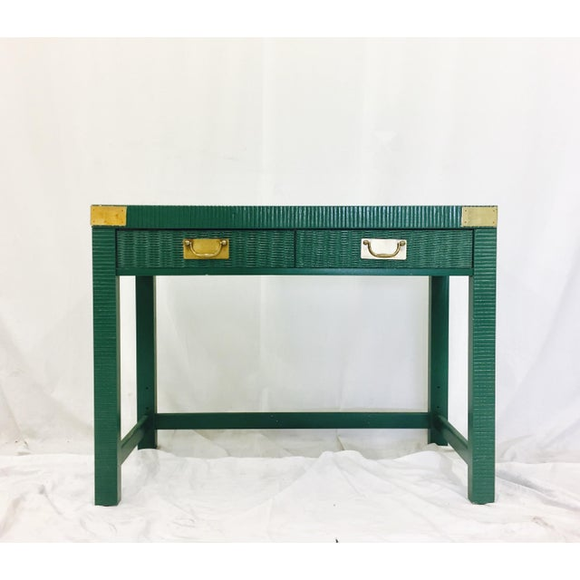 Vintage Mid-Century Campaign Green Desk - Image 11 of 11