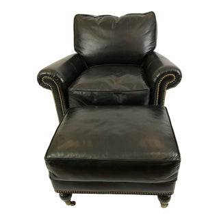 Black Leather Club Chair & Ottoman For Sale