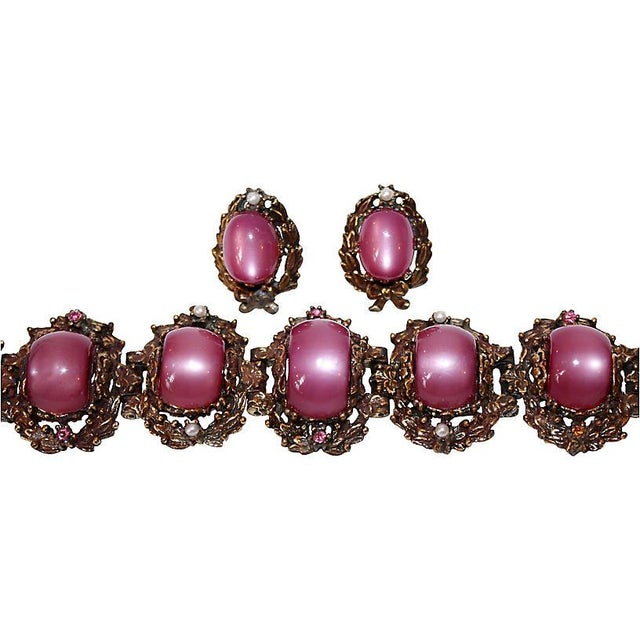 Traditional Fuchsia Thermoset Bracelet & Earrings For Sale - Image 3 of 7