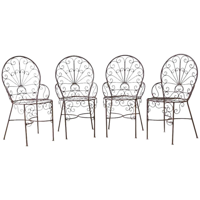 Salterini Style Iron Fan Back Garden Patio Chairs For Sale