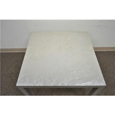 Vintage Mid Century Modern Silver Square Parsons Coffee Side Occasional Table - Image 4 of 12