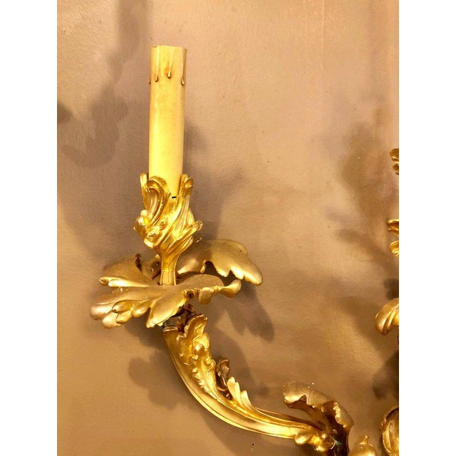 1960s Louis XVI Style Bronze Three Light Gilt Bronze Sconces - a Pair For Sale - Image 5 of 11