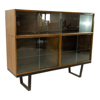 1960s George Nelson for Herman Miller Mid Century Walnut Bookcase Hutch on Bench For Sale