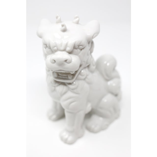 Asian Vintage Blanc De Chine Foo Dog Figurine For Sale - Image 3 of 12