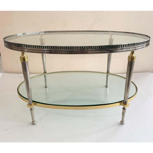 Transparent Trouvailles Steel Glass and Brass Oval Cocktail Table For Sale - Image 8 of 13