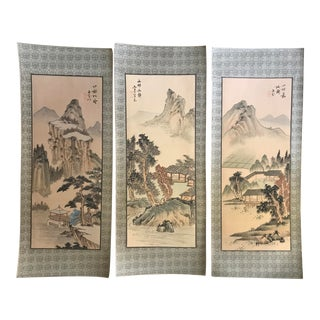 Hand-Painted Chinese Unframed Silk Panels - Set of 3 For Sale