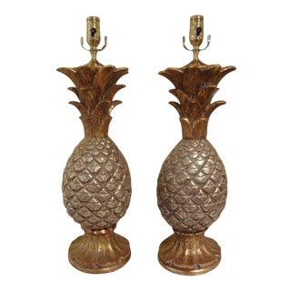 1960's Vintage Italian Gilt Terracotta Pineapple Lamps-Pair For Sale