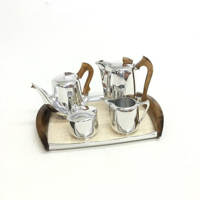 Mid-Century Modern Mid-Century Modern Picquot Ware Tea Set - Set of 5 For Sale - Image 3 of 5