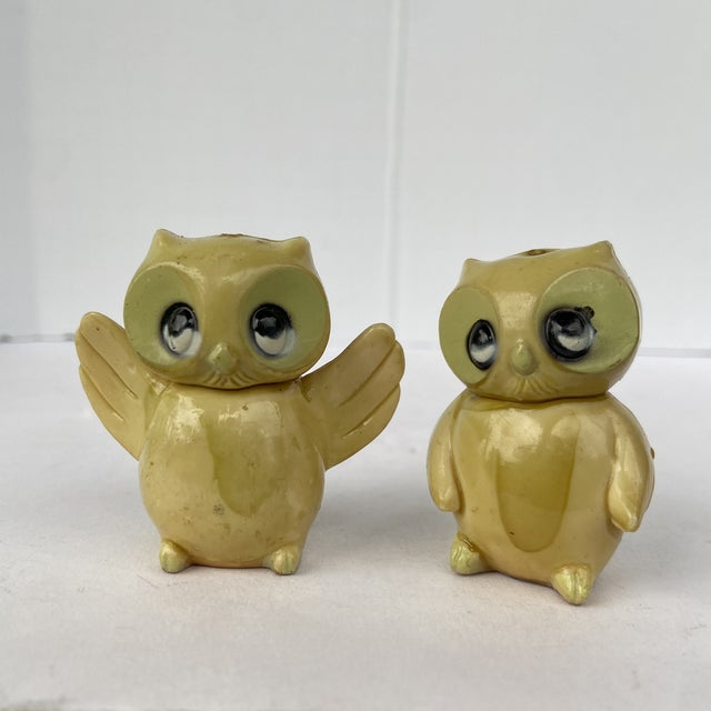 Antique Early 20th Century Celluloid Tiny Owl Figurines - a Pair For Sale - Image 9 of 9