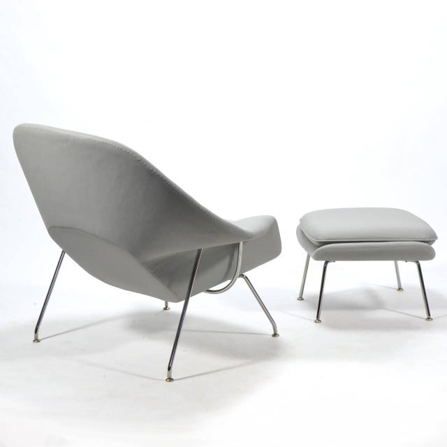 Eero Saarinen Womb Chair and Ottoman in Leather by Knoll - Image 6 of 11