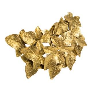 Sonia Rykiel Paris Gilt Metal Pin Brooch Oversized Textured Leaves For Sale