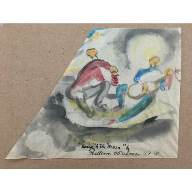 """""""Singing to the Moon"""" Painting by William Palmer, 1947 For Sale - Image 4 of 4"""