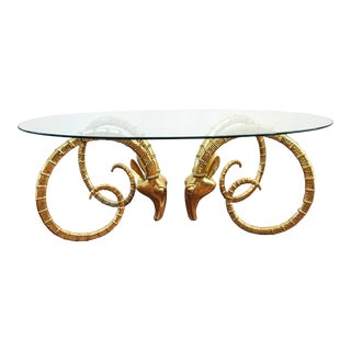 Vintage Brass Ram's Head / Gazelle Alain Chervet Style Hollywood Regency Dining Table For Sale