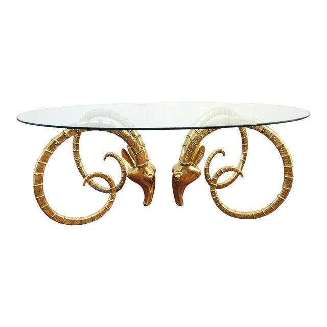 Vintage Brass Ram's Head / Gazelle Alain Chervet Style Hollywood Regency Dining Table For Sale