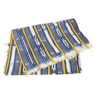 African Indigo & Yellow Mud Cloth Throw For Sale