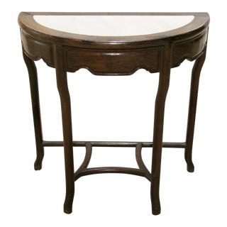 Stone Top Rosewood Demilune Table For Sale