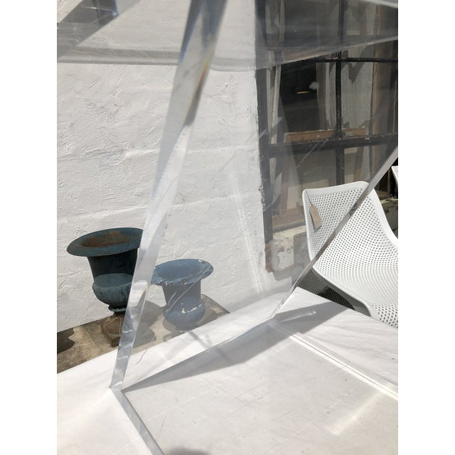 Lucite Z Drinks Table With Brass Detail For Sale - Image 11 of 13
