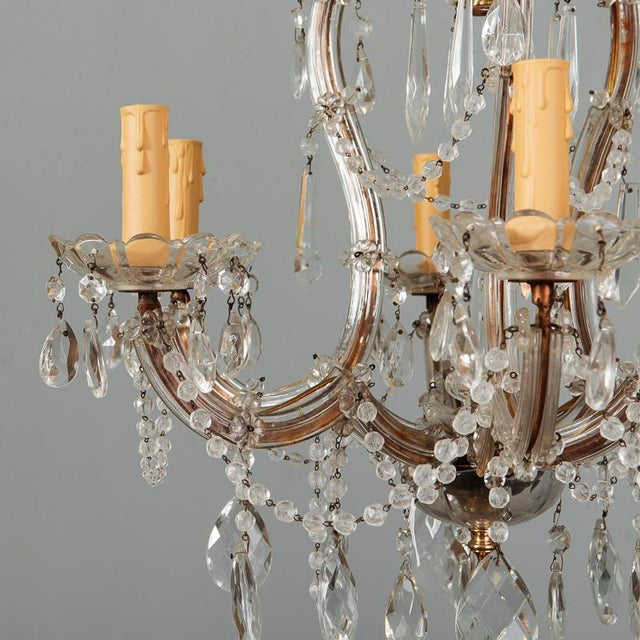 Gold Heavily Beaded Small Six Light Maria Theresa Chandelier For Sale - Image 8 of 11