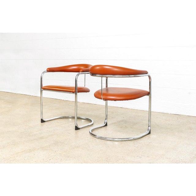 Vintage Mid Century Modern Bauhaus Anton Lorenz Burnt Orange Cantilever Arm Chair For Sale In Detroit - Image 6 of 10