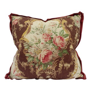 English Traditional Floral Printed Linen Down Pillow For Sale