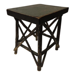 Vintage Primitive Willow and Wood Painted Low Side Table For Sale