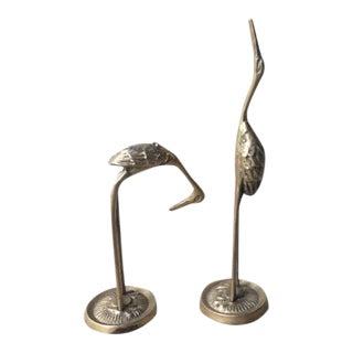 Vintage Mid-Century Brass Cranes- a Pair