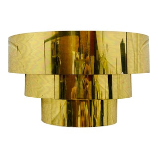 Vintage Mid Century Modern Sculptural Gold Brass Wall Sconce For Sale