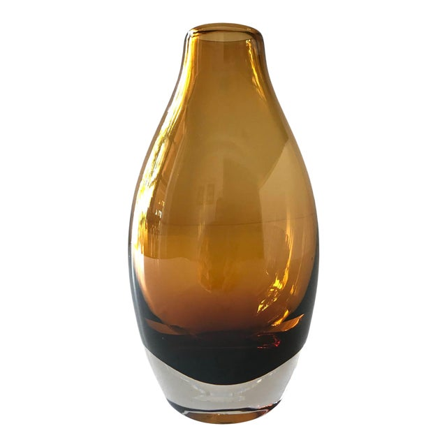 Vintage 1970s Scandinavian Modern Sommerso Glass Vase in Amber For Sale