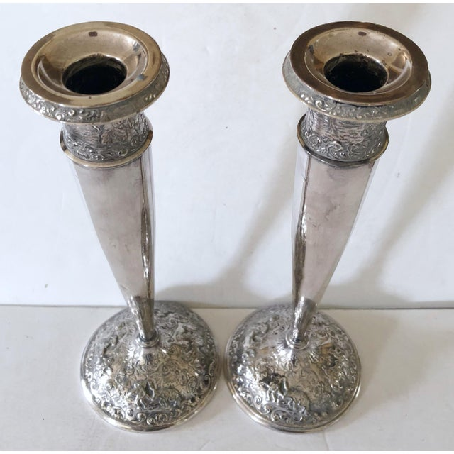 Mediterranean Barbour Silver Candlesticks For Sale - Image 3 of 8