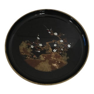 1970's Black & Gold Chinoiserie Motif Tray For Sale