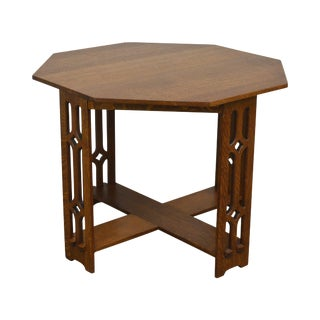 Arts & Crafts Antique Oak Octagonal Center Table With Pierced Legs For Sale