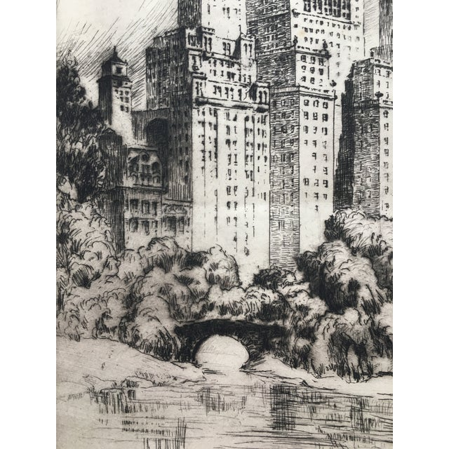 """1940's New York Etching """"Central Park"""" by Nat Lowell For Sale - Image 10 of 13"""